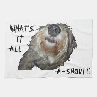 """Hund """"VAD ÄR DET ALL A-SNOUT??"""", Kökshandduk"""