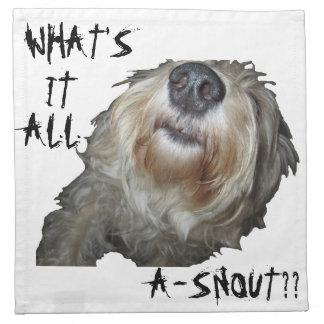 """Hund """"VAD ÄR DET ALL A-SNOUT??"""", Servetter - uppsä"""