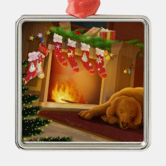 Hund vid spis silverfärgad fyrkantigt julgransprydnad