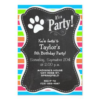 Hund Woof; För rosablått för neon orange randar 12,7 X 17,8 Cm Inbjudningskort