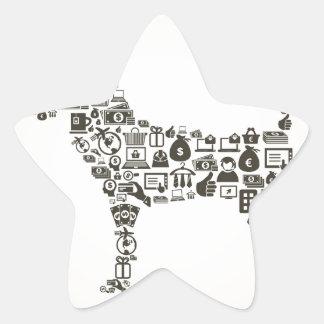 Hundaffär Stjärnformat Klistermärke