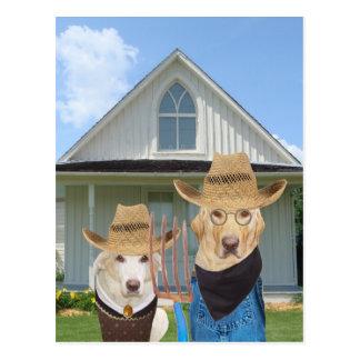 Hundar/labb för rolig amerikan gotiska vykort
