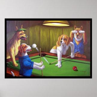 Hundar som leker bassängen - av bord poster