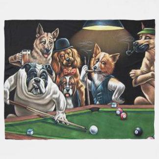 Hundar som leker bassängen - bulldogg fleecefilt