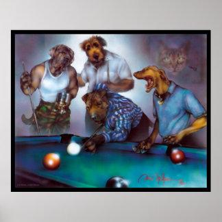 Hundar som leker bassängen - Dan Mc Manus Poster