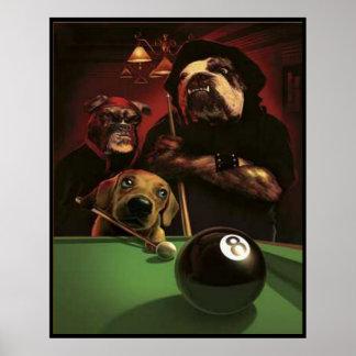 Hundar som leker bassängen - Eightballen Poster