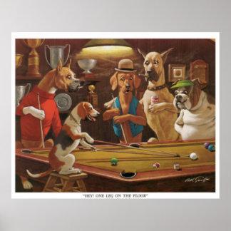 Hundar som leker bassängen - Hey, lägger benen på Poster