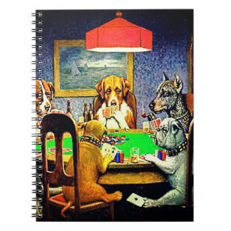 Hundar som leker poker anteckningsbok med spiral