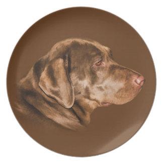 Hunden för den Labrador retrieveren, pläterar, anp Tallrik