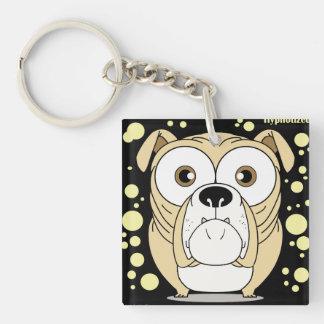 Hunden kvadrerar (tvåsidiga) Keychain