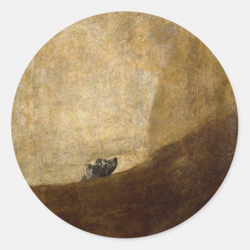 Hunden (svart målningar) vid Francisco Goya 1820 Runda Klistermärken