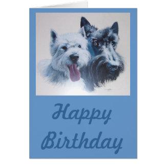 Hundkonst:  Scottie & Westie födelsedagkort Hälsningskort