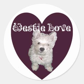Hundkonst: Westie kärlek Runt Klistermärke