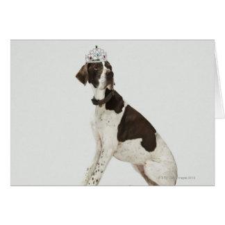 Hundsitta med en tiara på huvudet hälsningskort