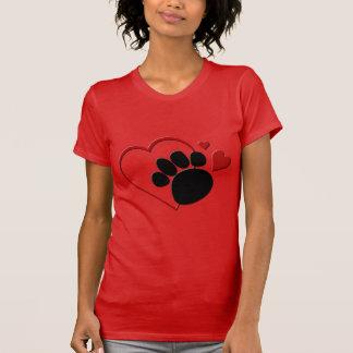Hundtasshjärtor älskar jag min hund röda fina tee shirts