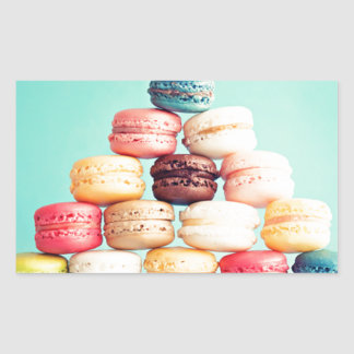 Hungrig Macaron hipster, multifärgad, sötsakkakor Rektangulärt Klistermärke