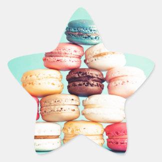 Hungrig Macaron hipster, multifärgad, sötsakkakor Stjärnformat Klistermärke