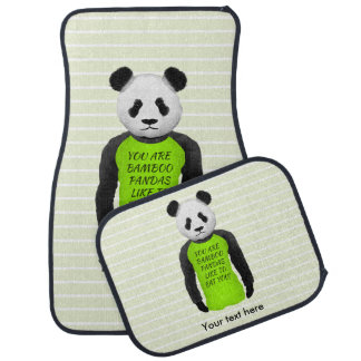Hungrig Panda som ha på sig en rolig Tshirt Bilmatta