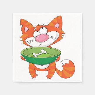 Hungriga kattpappersservetter servett