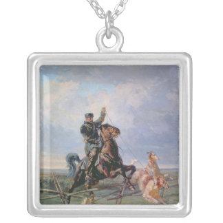 Huntsman med borzoisna, 1872 halsband med fyrkantigt hängsmycke