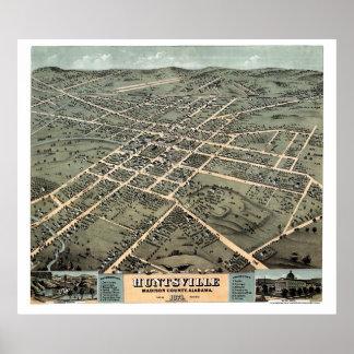 Huntsville panorama- karta för AL - 1871 Poster