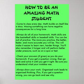 hur man är en fantastisk mathstudent poster