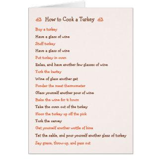 Hur man lagar mat kortet för Turkiet det roliga Hälsningskort