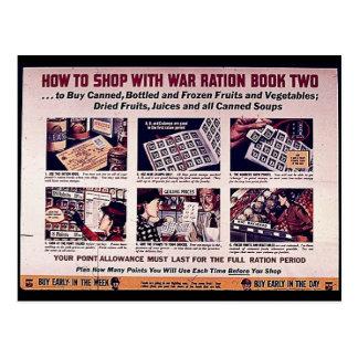 Hur man shoppar med krigmotbok två vykort