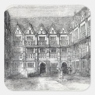 Hus av herr Thomas Gresham Fyrkantigt Klistermärke