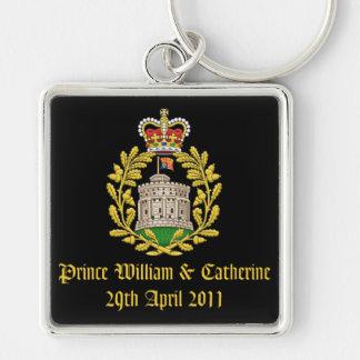 Hus av Windsor kungligt bröllop Fyrkantig Silverfärgad Nyckelring