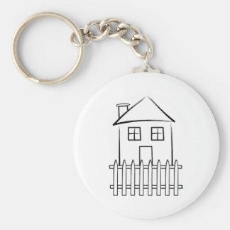 Hus för staket för penseldragvitpostering rund nyckelring
