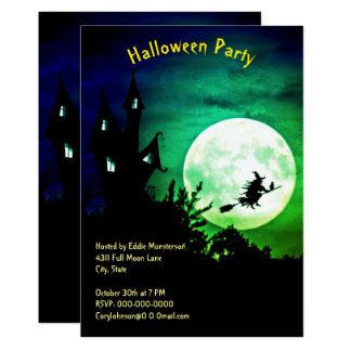 Hus fullmåne, häxa, grön himmelhalloween fest 12,7 x 17,8 cm inbjudningskort