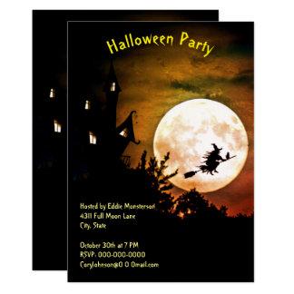 Hus fullmåne, orange himmelhalloween fest för häxa 12,7 x 17,8 cm inbjudningskort