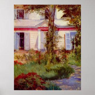 Hus i Rueil av Edouard Manet Affisch