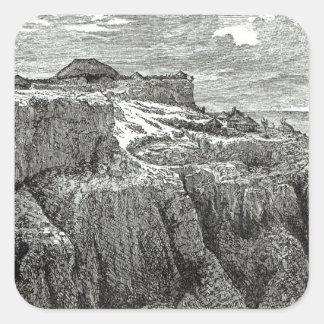 Hus Magdala för kung Theodores Fyrkantigt Klistermärke