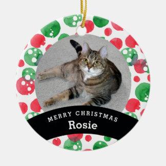 Husdjuret personifierade röda gröna vattenfärgen julgransprydnad keramik