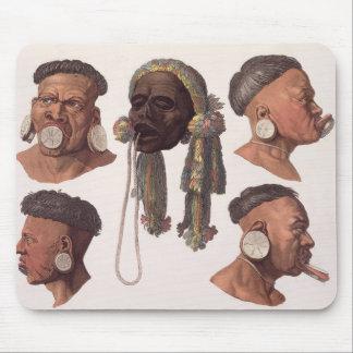 Huvud av Botocudos indier (färggravyr) Musmatta