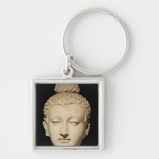 Huvud av en Buddha, Greco-Buddist stil Fyrkantig Silverfärgad Nyckelring