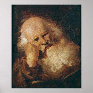 Huvud av en gamal man poster