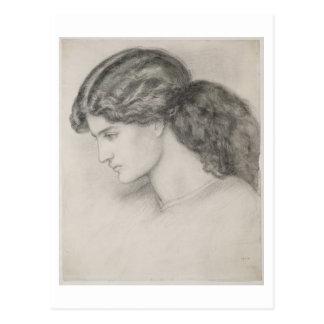 Huvud av en kvinna, 1861 (rita på papper), vykort