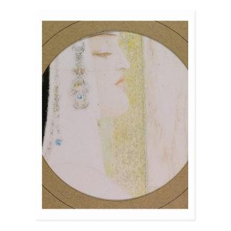 Huvud av en kvinna, c.1908 (pastell på papper) vykort