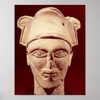 Huvud av en Semite chef med egyptisk påverkan Poster