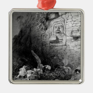 Huvud av Itzam Na, Izamal, Yucatan, Mexico, 1844 Julgransprydnad Metall