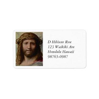 Huvud av Kristus Correggio Adressetikett