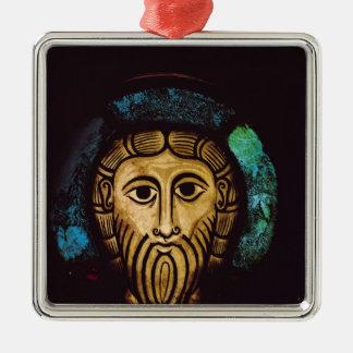 Huvud av Kristus Silverfärgad Fyrkantigt Julgransprydnad