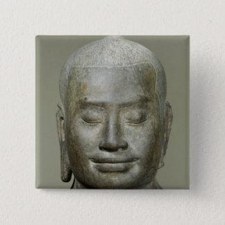 Huvud av kungen Jayavarman VII Standard Kanpp Fyrkantig 5.1 Cm