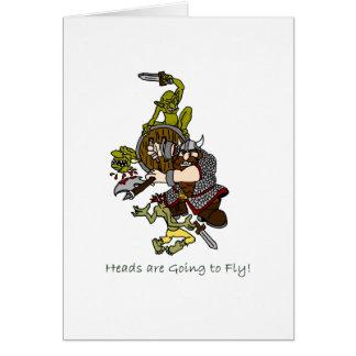 Huvud går att flyga dvärgen och elakt troll hälsningskort