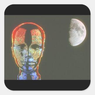 Huvud/måne. (huvud; moon_Spaceplatser Fyrkantigt Klistermärke
