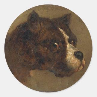 Huvudet av bulldoggen av Theodore Gericault Runt Klistermärke