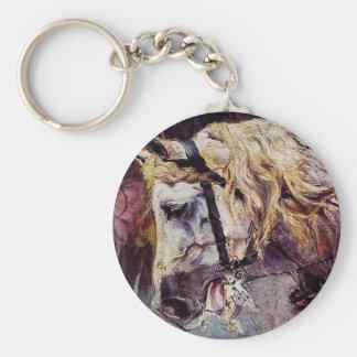 Huvudet av en häst av Giovanni Boldini Rund Nyckelring